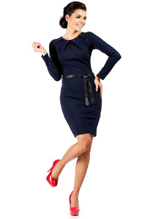 blue pleated neckline shift dress with belt