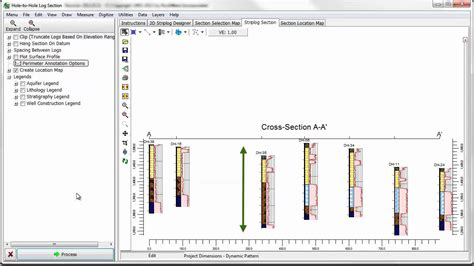how to draw a geological cross section rtr 3 2 2 1 3 creating striplog cross sections youtube