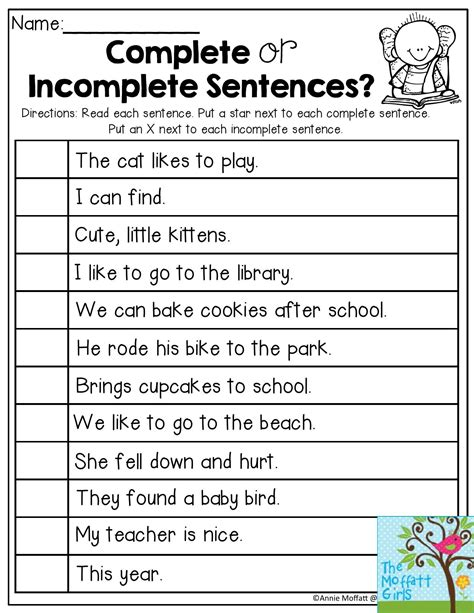 sentence pattern worksheets for grade 2 complete or incomplete sentences read each sentence and