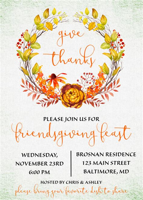 Thanksgiving Invitation Card Template by Friendsgiving Invitation Friendsgiving Potluck Give Thanks