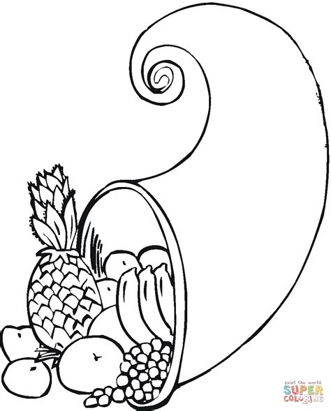 empty cornucopia coloring pages printables sketch coloring