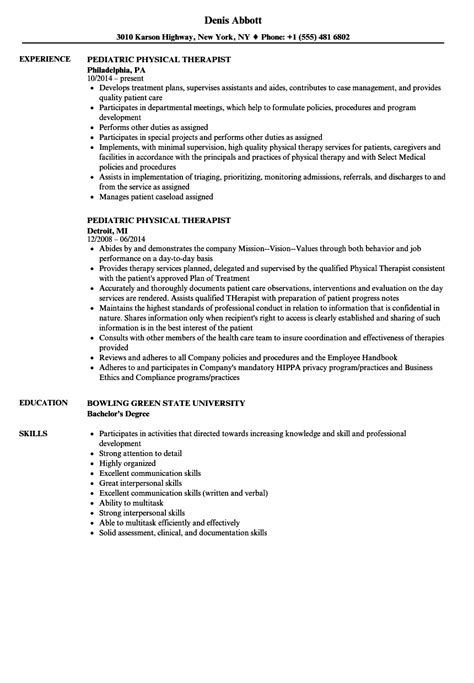sample physical therapy resume millbayventures com