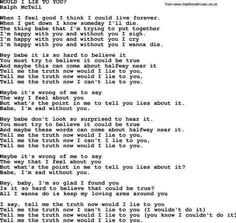 song i you would i lie to you txt by ralph mctell lyrics and chords