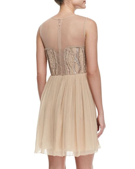 beaded illusion cocktail dress miller illusion beaded bodice cocktail dress