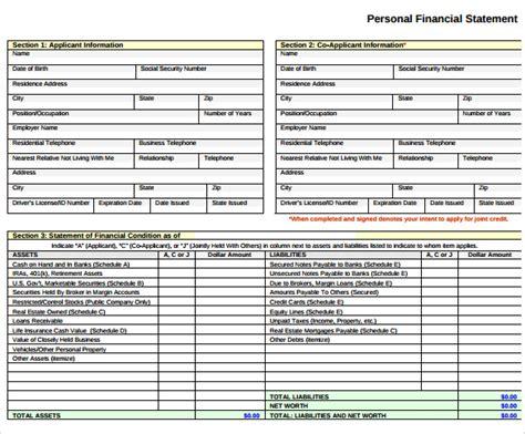 free financial templates free personal financial statements templates