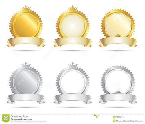 Award Certificate Templates approval seal gold amp silver set stock vector image 18554119