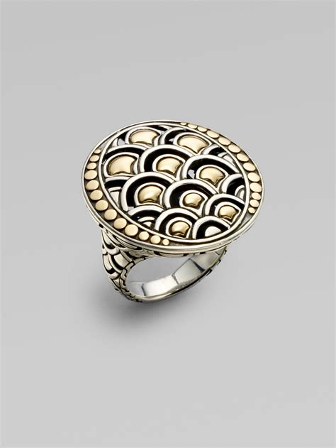 hardy 18k yellow gold and sterling silver ring in
