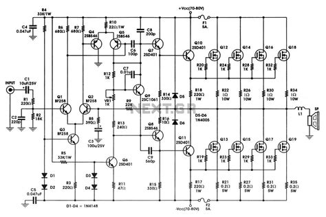 schematic diagram in electronics 400 w mosfet audio lifier circuit using irfp448 diagram