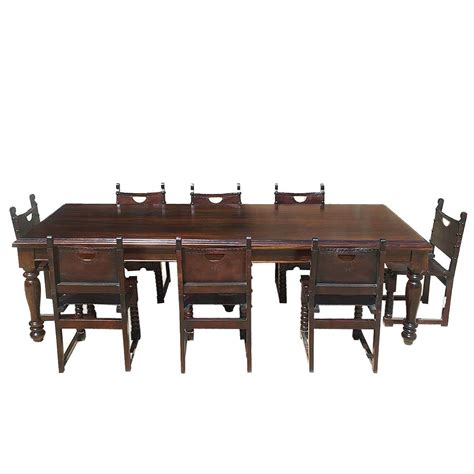 rustic dining room table and chairs large rustic solid wood dining room table w 8 leather