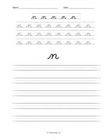 d nealian cursive letters lower case letter n practice