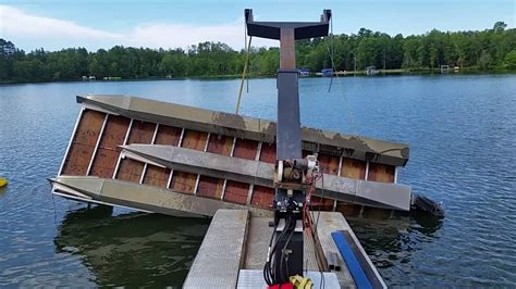 tritoon work boat barge flipping over a double decker tritoon pontoon youtube