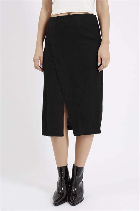 topshop knitted wrap midi skirt by jovonna in black lyst