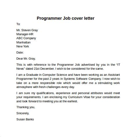 Applications Programmer Cover Letter by Cover Letter Exle For 10 Free Documents In Word