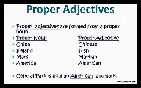 adjective definition and its types with exles j u s t