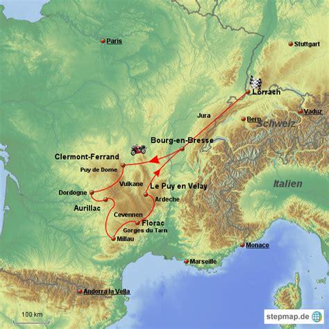 Motorradtouren Zentralmassiv Frankreich by Zentralmassiv Von Upry Landkarte F 252 R Frankreich