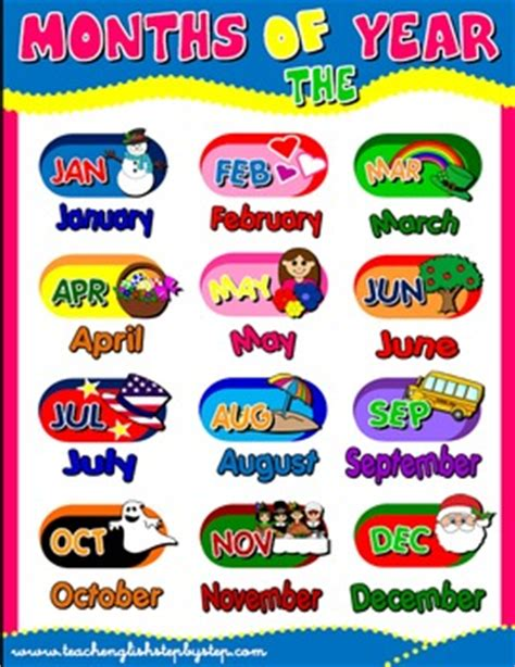 printable months poster english with games 4 teach english step by step