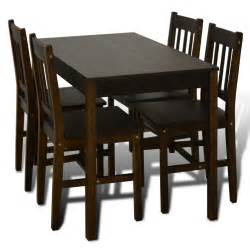 Wooden Dining Table And Chairs Vidaxl Co Uk Wooden Dining Table With 4 Chairs Brown