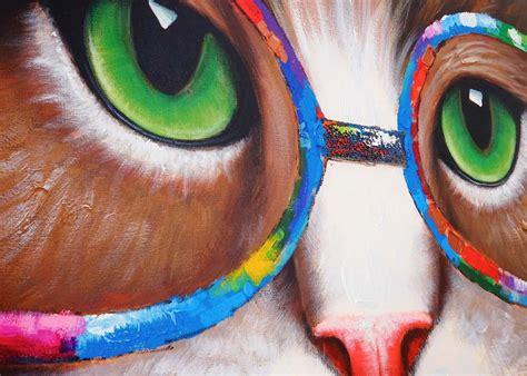 imagenes de otoño al oleo cuadro gato 90x90x3 5 cm pintado a mano al 243 leo cuadro