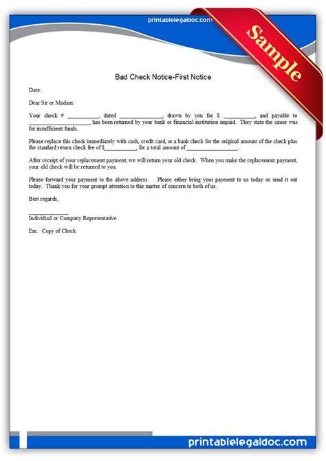 Complaint Letter To Bank For Bounced Cheque Free Printable Bad Check Notice Notice Sle Printable Forms Forms