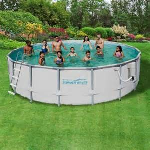 Waves elite 18 ft round 52 in deep metal frame swimming pool package
