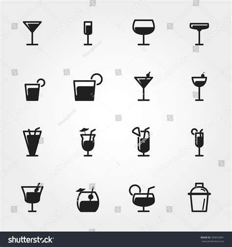 cocktail icon vector cocktail icons stock vector 394016851 shutterstock