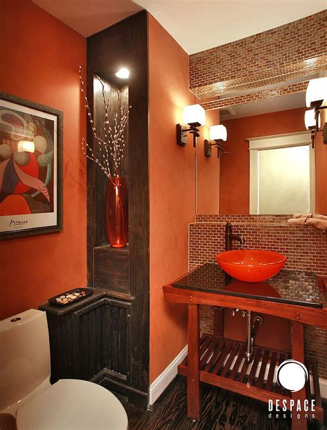 rooms design cheerful enliven your powder room with a splash of orange