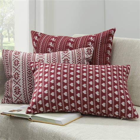 red throw pillows for bed decorative throw pillow for couch jacquard red geometric