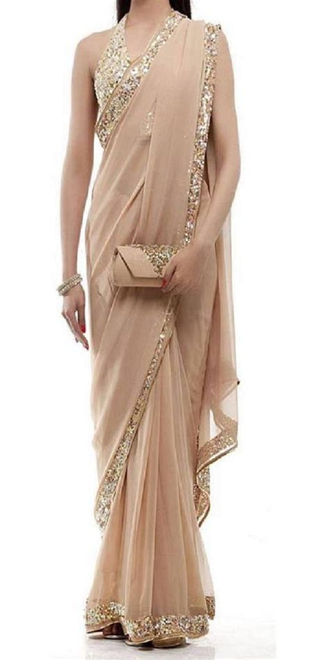 Ready Liona Blouse Buy Beige Embroidered Georgette Saree With Blouse