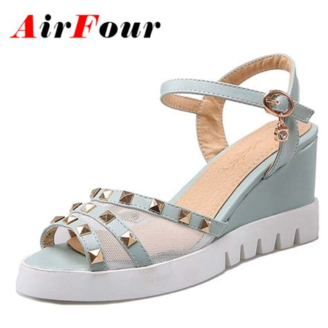 Sandal Wedges Ym08 Hitam 43 airfour big size 34 43 high heels wedges sandals sweet summer sandals shoes rivet