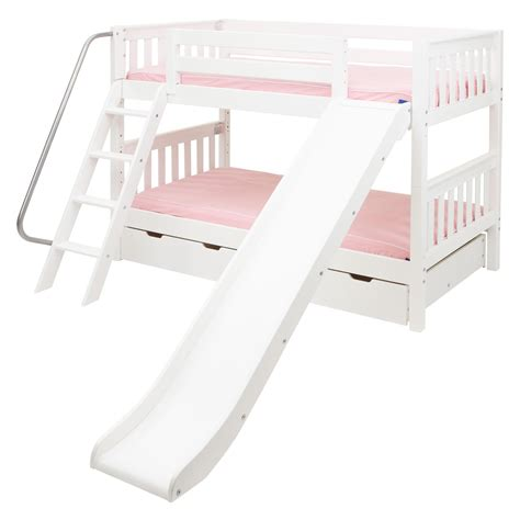 twin bed with slide laugh twin over twin slat slide bunk bed kids trundle