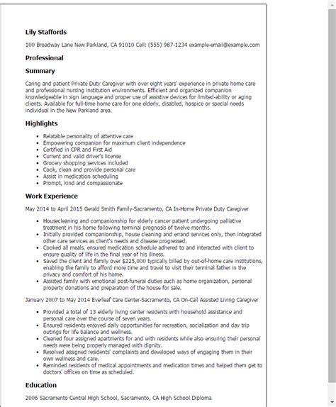1 duty caregiver resume templates try them now