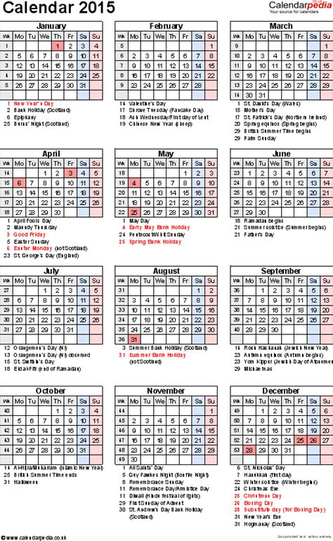 printable uk calendar 2015 with bank holidays pics for gt calendar 2015 printable with public holidays