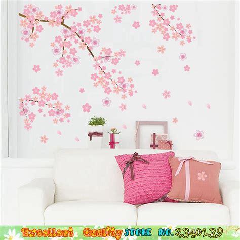 Wall Sticker Stiker Dinding Bunga Merah Tangkai merah muda bunga pohon wall sticker diy dekorasi rumah sofa tv dinding latar