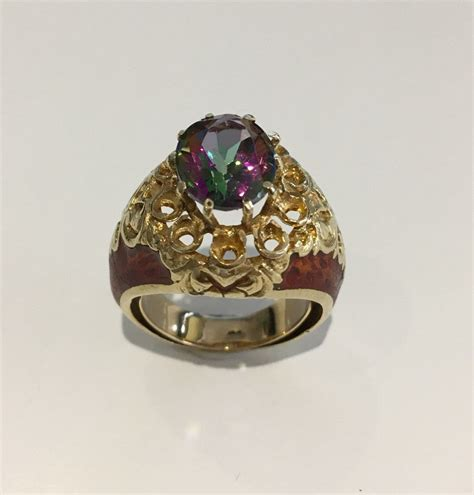 V Topaz 04 Size 14k yellow gold mystic topaz ring wood grain style sides size 5 5 tangible investments