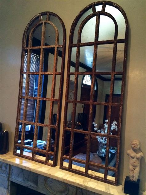 pair  slim arch architectural reclaimed window mirrors