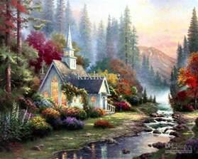 Landscape Pictures On Canvas Canvas Wholesale Landscape Painting Forest Chapel
