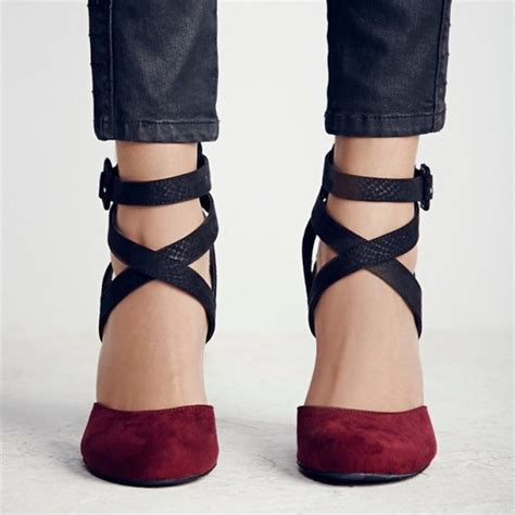 Pointy Pumps With Ankle s burgundy and black chunky heels pointy toe ankle