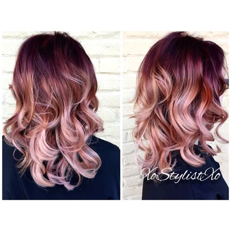 rose gold hair color red rose gold blush sombre so want to have this hair