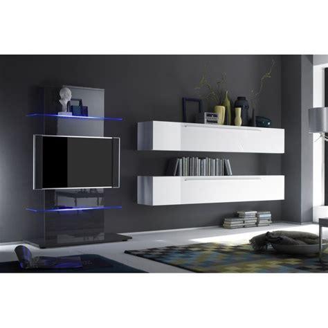 Merveilleux Meuble Suspendu Salon Design #3: Ensemble-meubles-tv-blanc-et-gris-laque-bellima.jpg