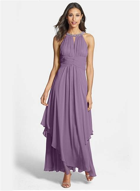 halter sleeveless maxi chiffon pleated dress oasap