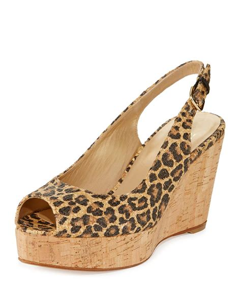 leopard print wedge sandals stuart weitzman jean leopard print slingback wedge sandal