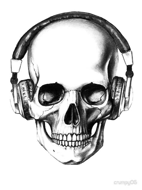 Skull Headphones quot skull headphones quot stickers by crumpy06 redbubble