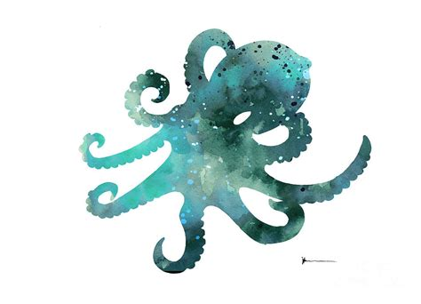Android App Ideas octopus silhouette watercolor minimalist painting painting