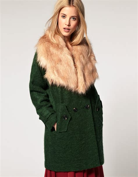 asos collection coat with oversized faux fur collar in