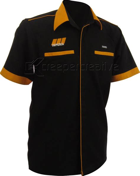 Kemeja F1 Corporate Shirt Customade Cs 10 Black Piping Oren
