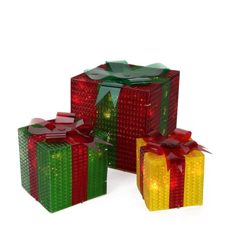 lighted gift boxes christmas decorations 3 piece glistening prismatic gift box lighted christmas