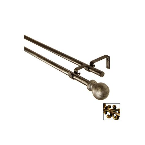 lowes double curtain rod shop bcl drapery antique gold metal double curtain rod at