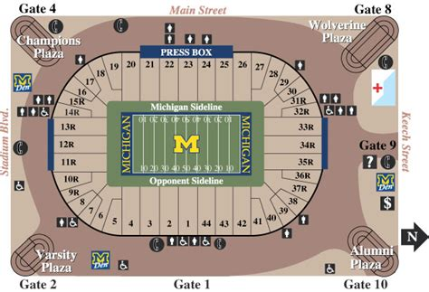 big house section map michigan stadium seating chart