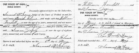 Guernsey County Ohio Marriage Records Land Of The Buckeye William Wendell