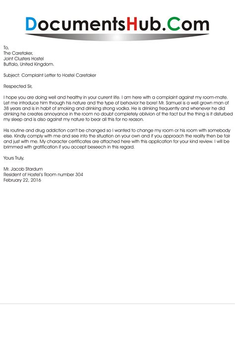 Permission Letter To Hostel Warden For Leave Sle Complaint Letter To Hostel Caretaker Documentshub